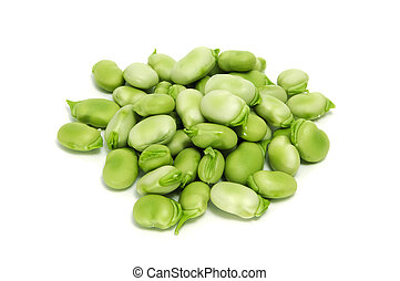 broad bean - a pile of broad beans isolated on a white...