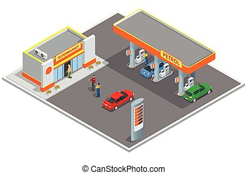 Gas station, petrol station. Refilling, shopping service....