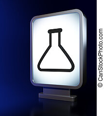 Science concept: Flask on billboard background - Science...