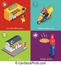 Illustration Set Banners with Italian Pizzeria, Mobile food truck, Car with Italian pizza, Perfect service, Delivery pizza, delivery boy. Flat 3d isometric pizza consept.