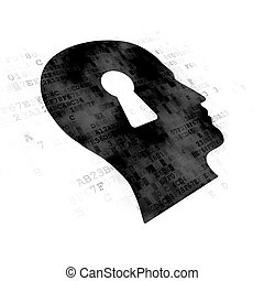 Data concept: Head With Keyhole on Digital background