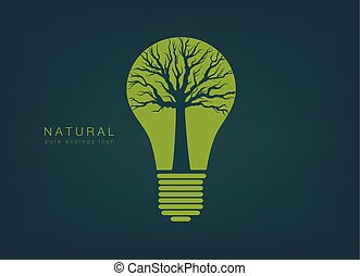 icon with a green light bulb and tree - pure ecology icon...