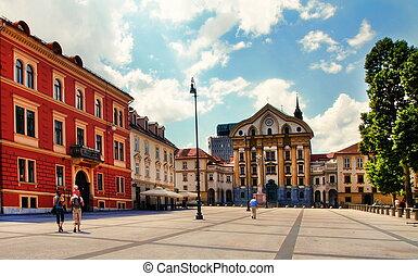 Street in the old city center of Ljubljana, Slovenia....
