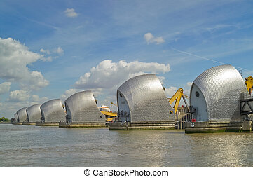 Thames Barrier - Detail of Thames Barrier on river Thames,...