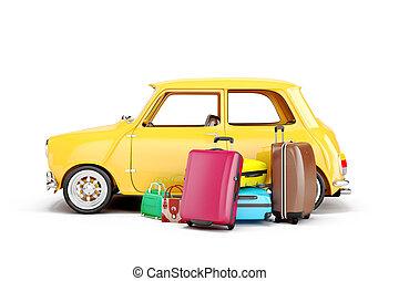 汽車, 旅行, 行李, 卡通,  3D