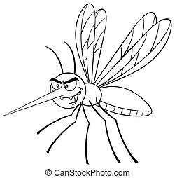 Black And White Mosquito Cartoon Character Flying