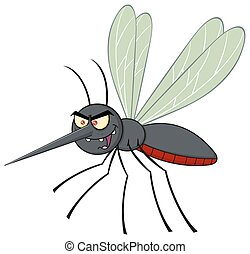 Mosquito Character Flying