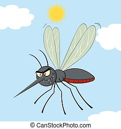 Mosquito Character With Background - Mosquito Cartoon...