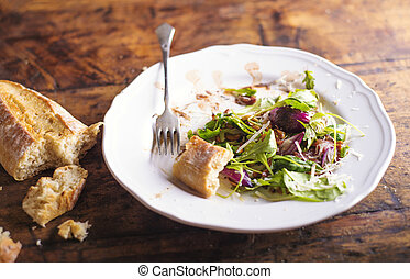Rucola salad on white porcelain plate with brusheta bread -...