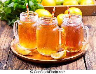 jars of lemon ice tea