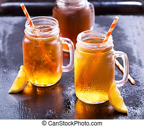 jars of lemon ice tea