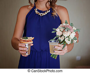 Best Bridesmaids with food and champagne - Bridesmaid...