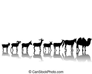 hoofed animals -  a collection of many animals-silhouette