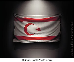 waving flag Turkish Republic of Northern Cyprus on a dark...