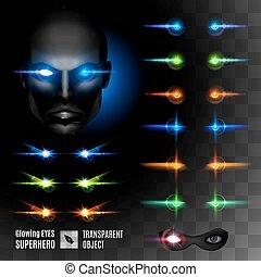 Super Hero Eyes - Set of Super Hero Glowing Eyes. Template...