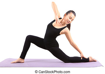 asian woman health care yoga posting isolated white...