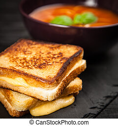 Tomato soup and basil - Tomato soup and grilled cheese...