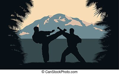 Illustration, two men occupy karate on a background an ocean...