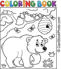 Coloring book bear theme 3 - eps10 vector illustration.