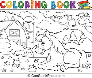 Coloring book horse near farm theme 2 - eps10 vector...