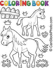 Coloring book horse with foal theme 1 - eps10 vector...