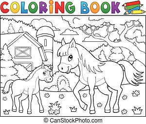 Coloring book horse with foal theme 2 - eps10 vector...