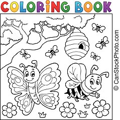 Coloring book with butterfly and bee - eps10 vector...