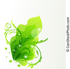 Nature transparent floral background, design elements -...