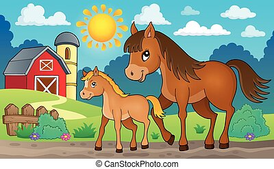 Horse with foal theme image 2 - eps10 vector illustration.