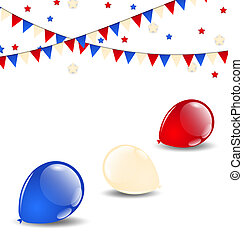 Colorful balloons in american flag colors - Illustration...