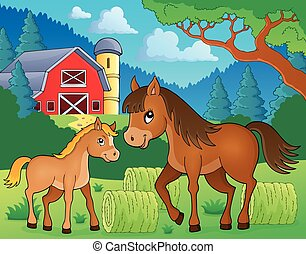 Horse with foal theme image 3 - eps10 vector illustration