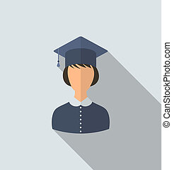 Flat icon of female graduate in graduation hat, simple style...