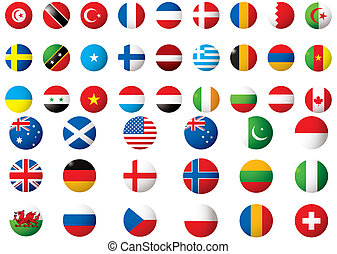 flags of the world - circular flags of the world on a white...