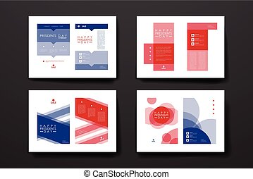 Set of brochure, poster design templates in Presidents Day...