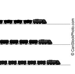 Three train with powered locomotive, cisterns oil, coal freight wagons, container wagons on railroad ways