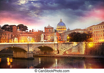 St Peter and 39;s cathedral in Rome, Italy - Night view at...