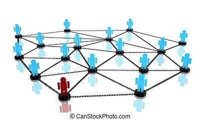 Social network concept with connected persons standing on a...