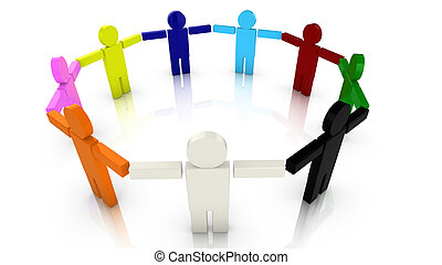 Colored puppets standing in a circle holding hands