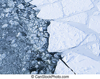 ice on the river - beautiful ice cracked on the river and...
