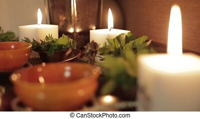 Burning candles and beautiful decor