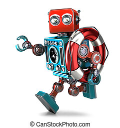 Vintage robot run with lifebuoy. Isolated. Contains clipping path