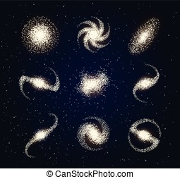 Galaxy types astronomy abstract vector on blue
