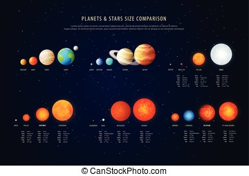 High detailed stars comparison education poster vector -...