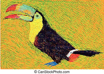 post impressionist style colore toucan bird illustration