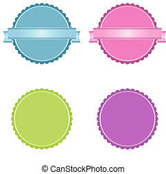 Set of badges in blue, pink, green and lilac toones