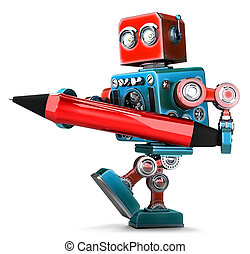 Vintage Robot writing with red pen. Isolated. Contains clipping path