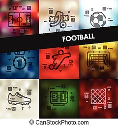 football timeline infographics with blurred background -...