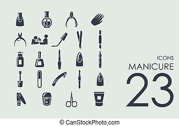 Set of manicure icons - manicure vector set of modern simple...