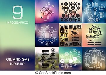 oil and gas infographic with unfocused background