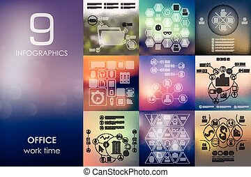 office infographic with unfocused background - office vector...